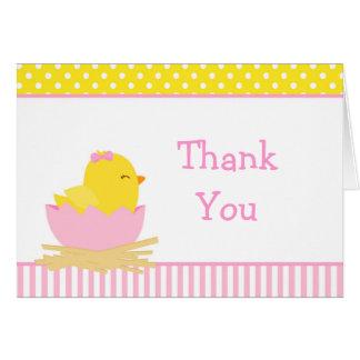 Cartão Obrigado cor-de-rosa e amarelo do pintinho da