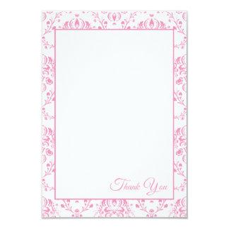 Cartão Obrigado cor-de-rosa e branco do damasco você