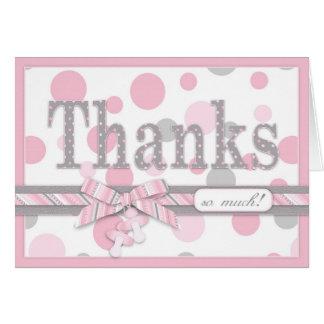 Cartão Obrigado cor-de-rosa e cinzento das bolinhas você