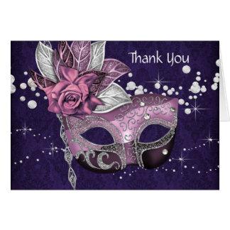 Cartão Obrigado cor-de-rosa e roxo do partido do