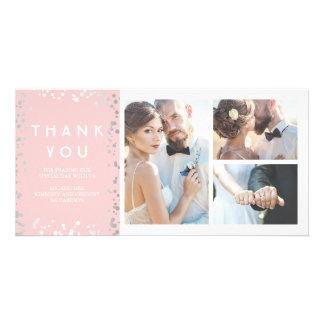 Cartão Obrigado cor-de-rosa elegante do casamento dos