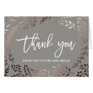 Cartão Obrigado cor-de-rosa elegante do ouro e das cinzas