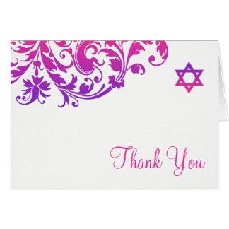 Cartão Obrigado cor-de-rosa roxo elegante de Mitzvah do
