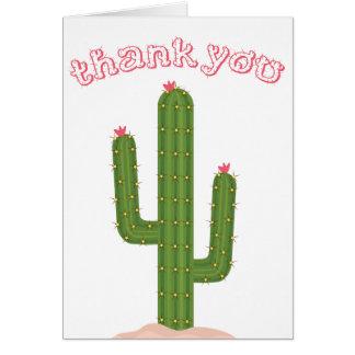 Cartão Obrigado cor-de-rosa você esverdeia o cacto