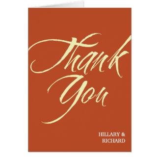 Cartão Obrigado corajoso do vermelho de tijolo do curso
