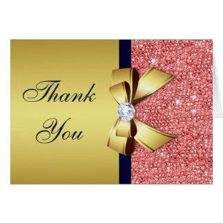 Cartão Obrigado coral do arco dos diamantes do marinho do