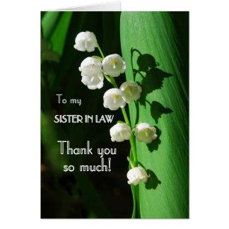 Cartão Obrigado, cunhada, lírio do vale