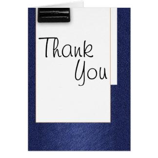 Cartão Obrigado cursive branco azul do vintage da escola