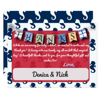 Cartão Obrigado customizável náutico dos cavalos de mar