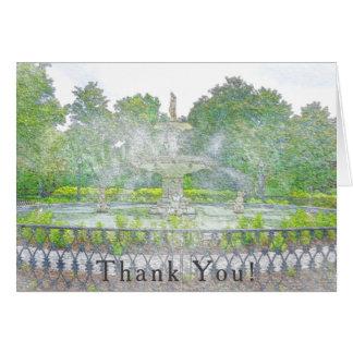 Cartão Obrigado da aguarela da fonte do parque de Forsyth