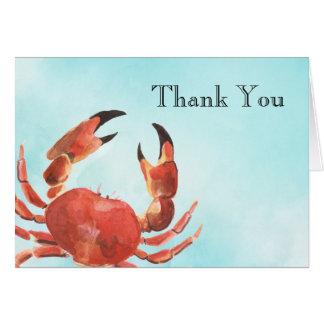 Cartão Obrigado da aguarela do caranguejo do marisco você