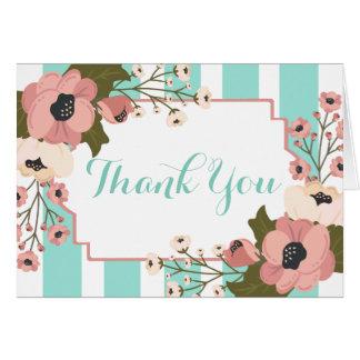 Cartão Obrigado da aguarela você pica listras florais de