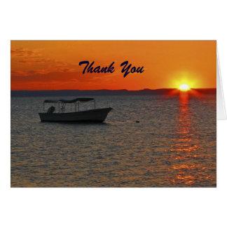Cartão Obrigado da aposentadoria você barco de pesca no