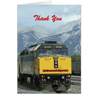 Cartão Obrigado da aposentadoria você, trem amarelo