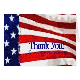 Cartão Obrigado da bandeira americana você