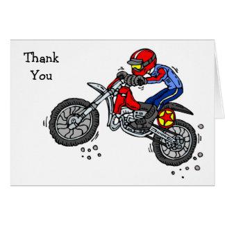 Cartão Obrigado da bicicleta da sujeira do motocross você