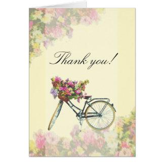 Cartão Obrigado da bicicleta das flores do primavera do