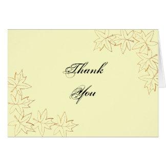 Cartão Obrigado da borda da folha de bordo do outono você