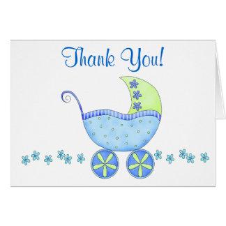 Cartão Obrigado da carruagem do carrinho de bebê azul