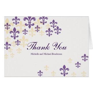 Cartão Obrigado da cascata da flor de lis você
