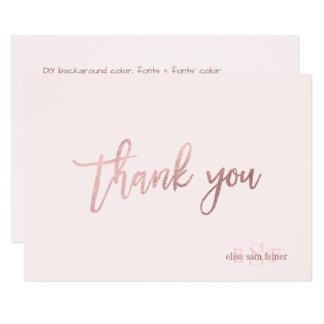 Cartão Obrigado da cor/monograma de PixDezines DIY