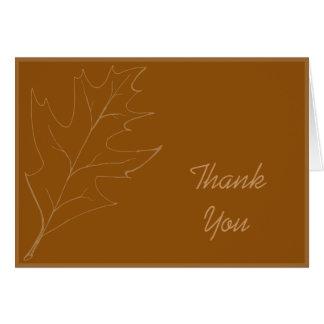 Cartão Obrigado da dama de honra da folha do carvalho da