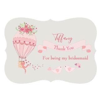 Cartão Obrigado da dama de honra você balão de ar quente