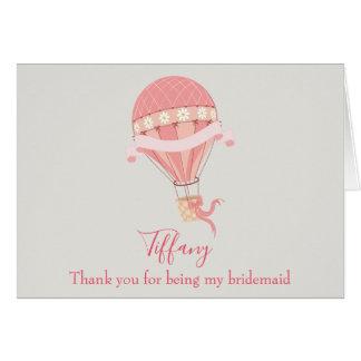 Cartão Obrigado da dama de honra você pica o balão de ar