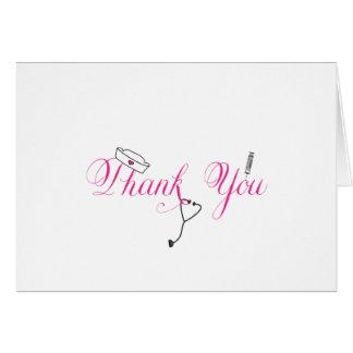 Cartão Obrigado da enfermeira você nota a caligrafia RN