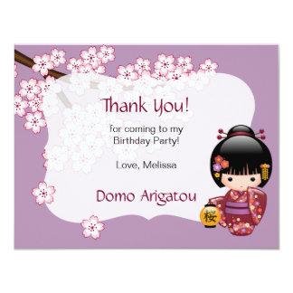 Cartão Obrigado da festa de aniversário da boneca de