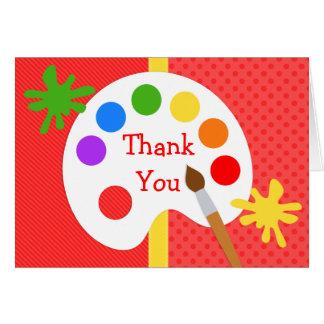 Cartão Obrigado da festa de aniversário da pintura da