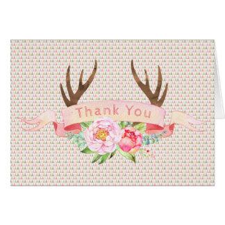 Cartão Obrigado da festa de aniversário do chá de fraldas