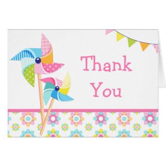 Cartão Obrigado da festa de aniversário do Pinwheel você