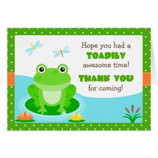 Cartão Obrigado da festa de aniversário do sapo você