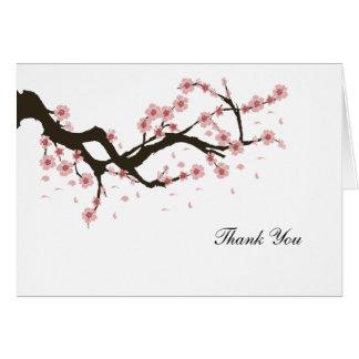 Cartão Obrigado da flor de cerejeira você