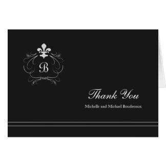 Cartão Obrigado da flor de lis de Florença do monograma
