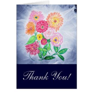 Cartão Obrigado da flor do Zinnia você