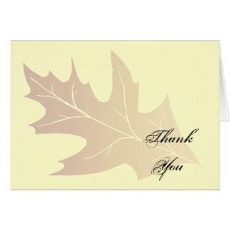 Cartão Obrigado da folha do carvalho do outono você