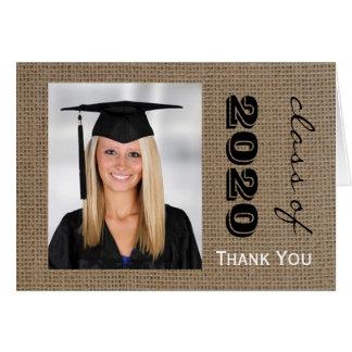 Cartão Obrigado da foto da graduação de serapilheira você