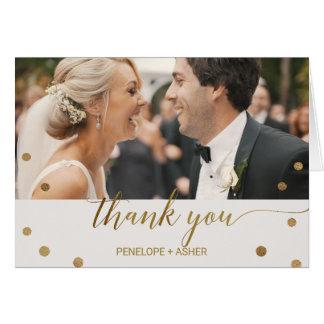 Cartão Obrigado da foto das bolinhas do ouro você