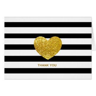 Cartão Obrigado da foto do casamento da listra do preto