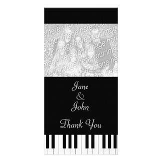 Cartão Obrigado da foto do casamento da música do teclado