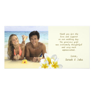 Cartão Obrigado da foto do casamento de praia das flores