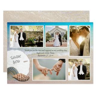 Cartão Obrigado da foto do casamento de praia você