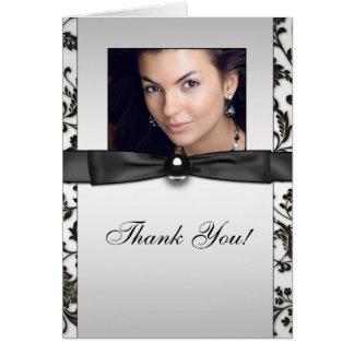 Cartão Obrigado da foto do damasco do traje de cerimónia