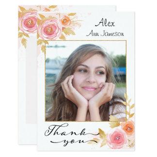 Cartão Obrigado da graduação da foto você com flores da