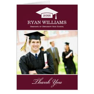 Cartão Obrigado da graduação você vermelho marrom escuro