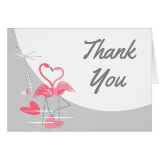Cartão Obrigado da lua do amor do flamingo grande você
