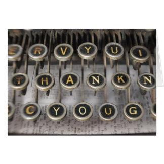 Cartão Obrigado da máquina de escrever você