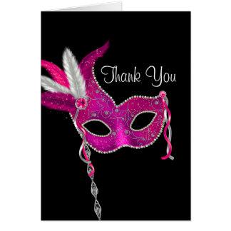 Cartão Obrigado da máscara do partido do mascarada do